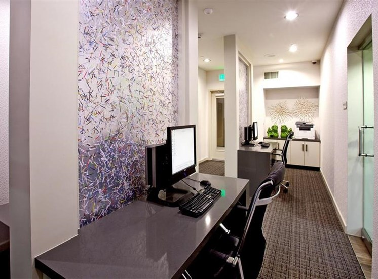 Business center at Carabella at Warner Center Apartments in Woodland Hills CA