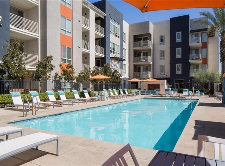 Pool at Carabella at Warner Center Apartments in Woodland Hills CA