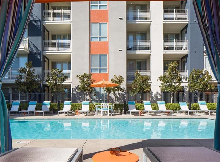 Pool cabana at Carabella at Warner Center Apartments in Woodland Hills CA