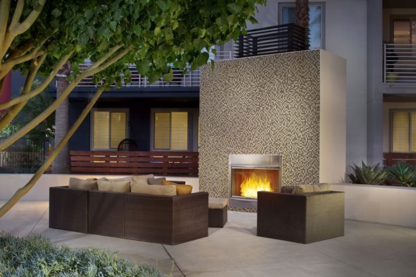 Fire lounge at Carabella at Warner Center Apartments in Woodland Hills CA