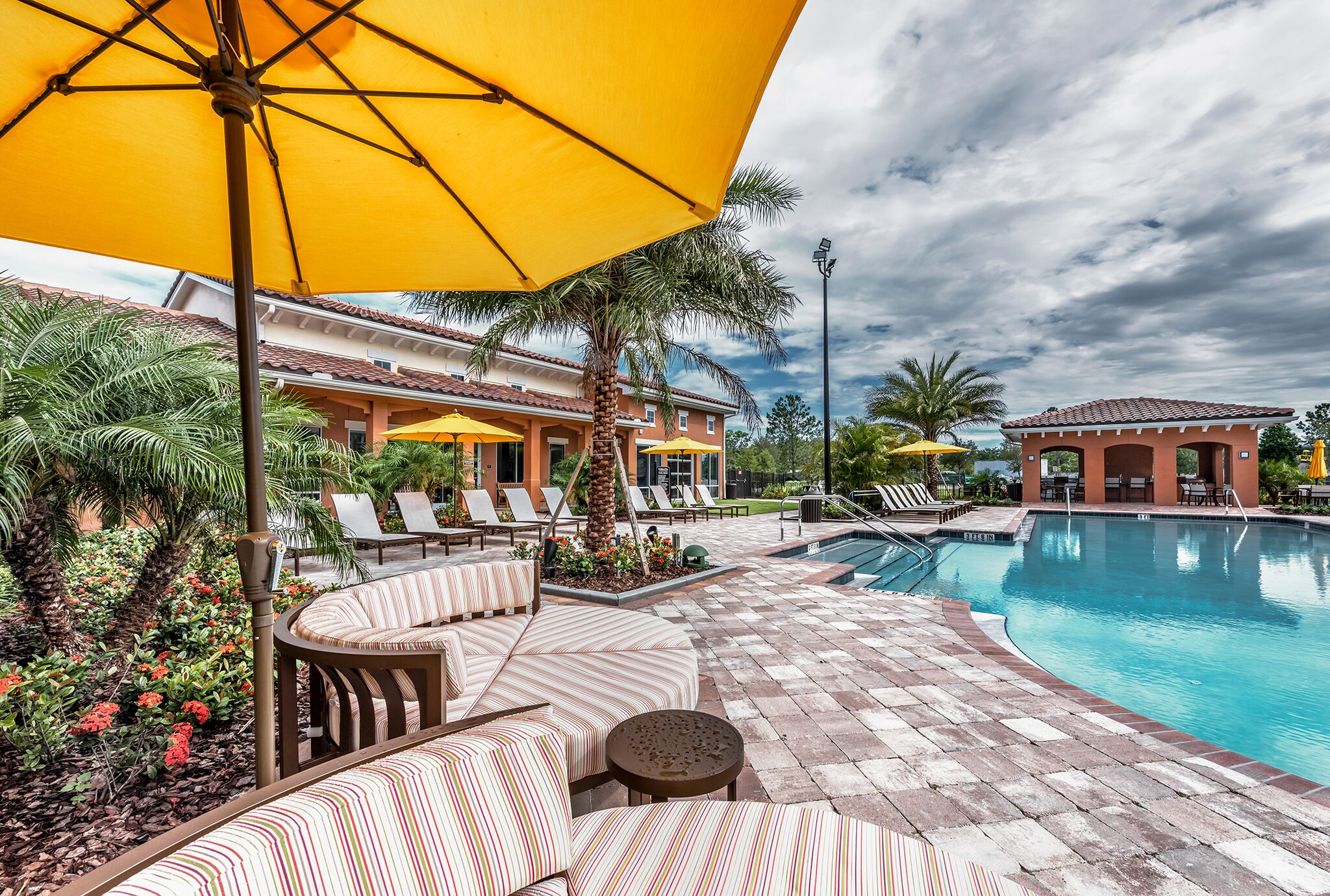Shaded Lounge Area by Pool at Vernazza, Kissimmee, 34741