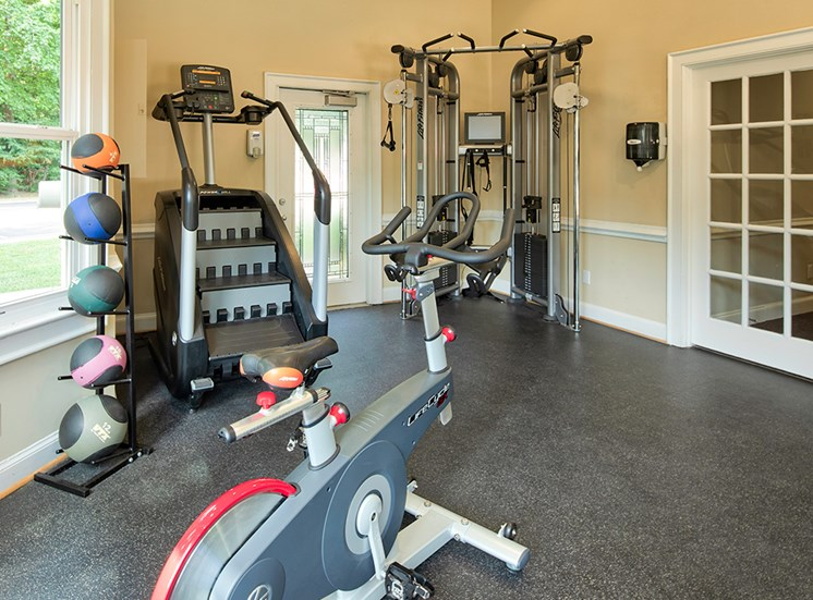 Fitness  equipment at the Courts of Yorkshire Downs Apartments