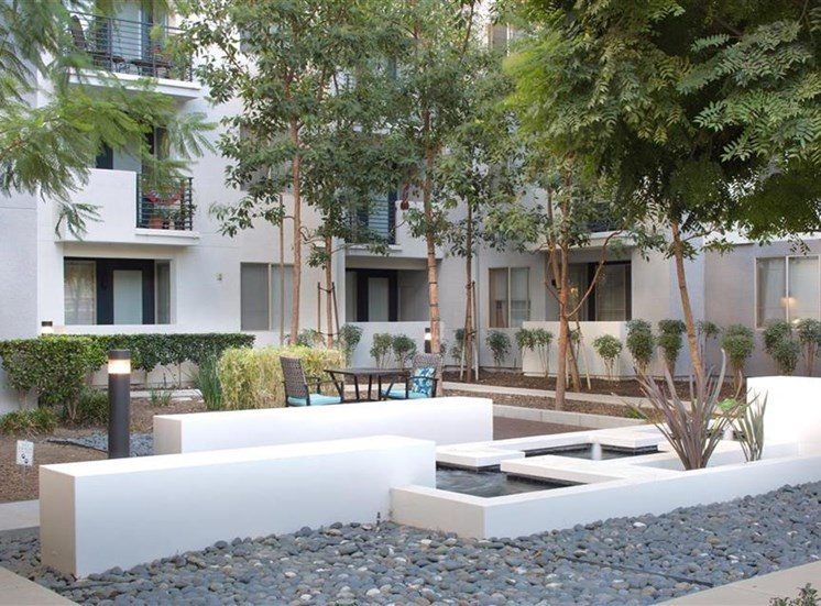Courtyard fountain at Carillon Apartment Homes in Woodland Hills CA
