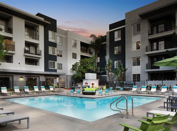 Pool at twilight at Carillon Apartment Homes in Woodland Hills CA