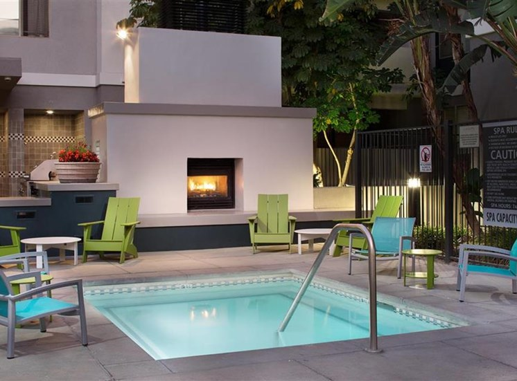 Spa at twilight at Carillon Apartment Homes in Woodland Hills CA