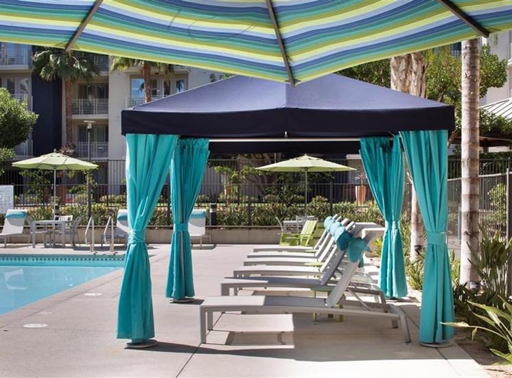 Pool cabana at Carillon Apartment Homes in Woodland Hills CA