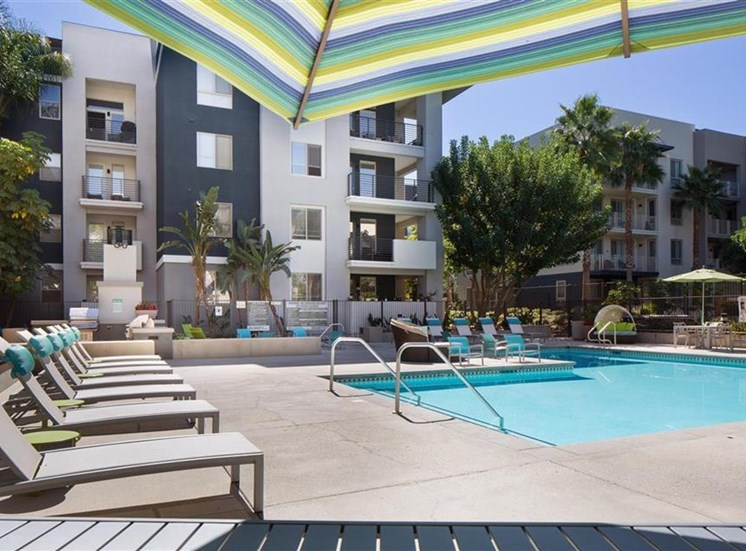 Lounge chairs at Carillon Apartment Homes in Woodland Hills CA