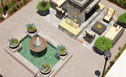 Outdoor fireplace at Terrena Apartment Homes in Northridge CA