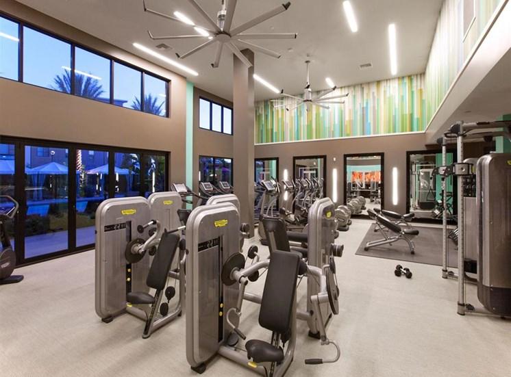Techno Gym Equipment at Terrena Apartment Homes in Northridge CA