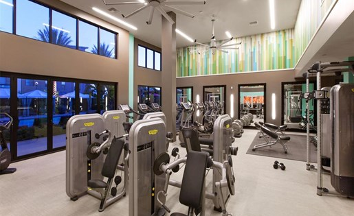 Techno Gym Equipment at Terrena Apartment Homes in Northridge CA