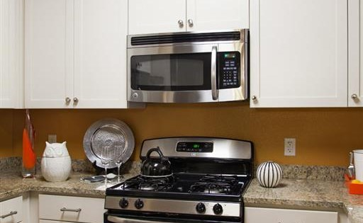 Stainless steel appliances at Terrena Apartment Homes in Northridge CA