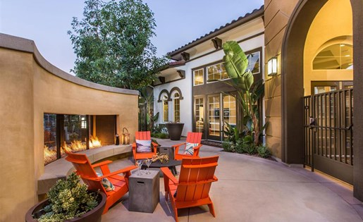Outdoor fire lounge at Capriana at Chino Hills Apartments in Chino Hills CA