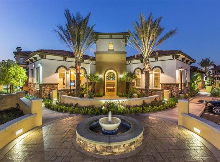 Exterior at dusk at Capriana at Chino Hills Apartments in Chino Hills CA