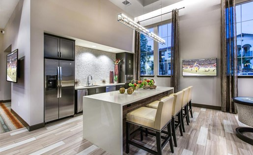 Resident lounge kitchen at Capriana at Chino Hills Apartments in Chino Hills CA