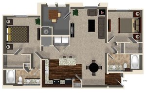 B2 floor plan for Capriana at Chino Hills Apartments in Chino Hills, CA