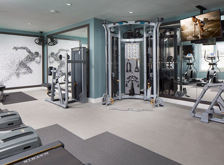 Upgraded Fitness Center with Cable Machines at Sorelle apartments in Moreno Valley CA