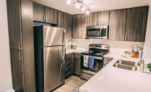 Kitchen at Merrick Apartments in Placentia CA