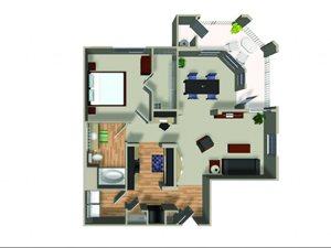 A2.1 1 bedroom 1 bathroom floorplan at Dakota Apartments in Winchester, CA