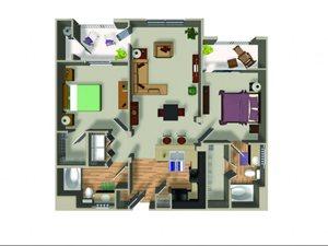 B1.3 2 bedroom floorplan at Dakota Apartments in Winchester, CA
