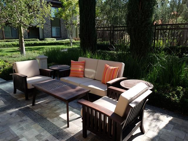 Outdoor seating area at Dakota Apartments in Winchester CA