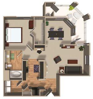 A22 2 bedroom 1 bathroom floor plan at Dakota Apartments in Winchester, CA