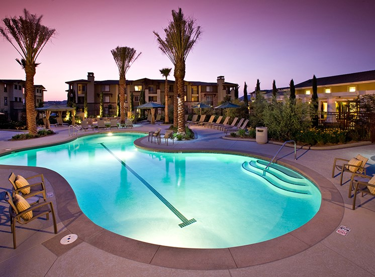 Night pool at Dakota Apartments in Winchester CA