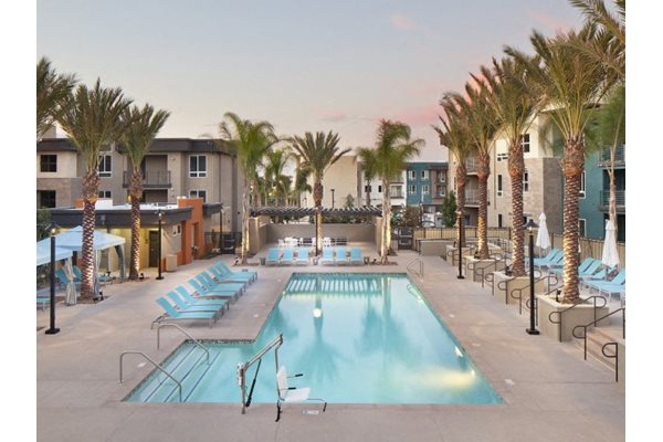 Heated pool at Pulse Millenia Apartments in Chula Vista, CA