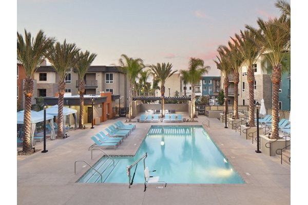 Poolside at Pulse Millenia Apartments in Chula Vista, CA