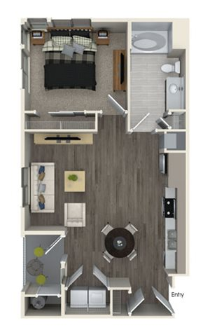 A1 floor plan at Pulse Millenia Apartments in Chula Vista, CA