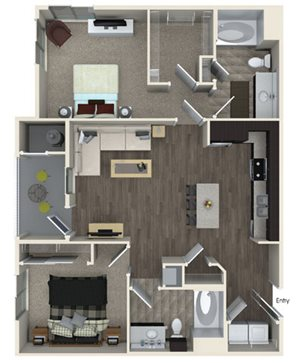 B1 floor plan at Pulse Millenia Apartments in Chula Vista, CA