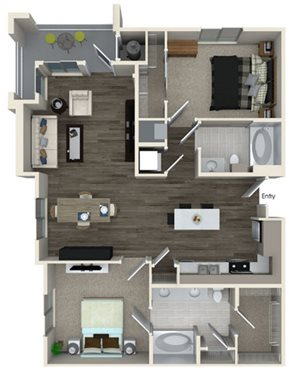 B2A floor plan at Pulse Millenia Apartments in Chula Vista, CA
