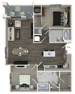 B2 floor plan at Pulse Millenia Apartments in Chula Vista, CA