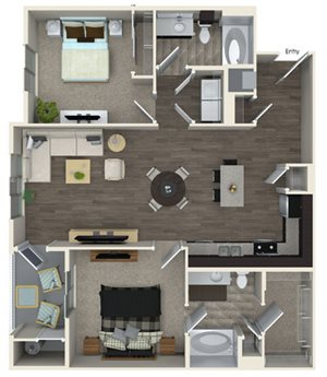 B3 floor plan at Pulse Millenia Apartments in Chula Vista, CA