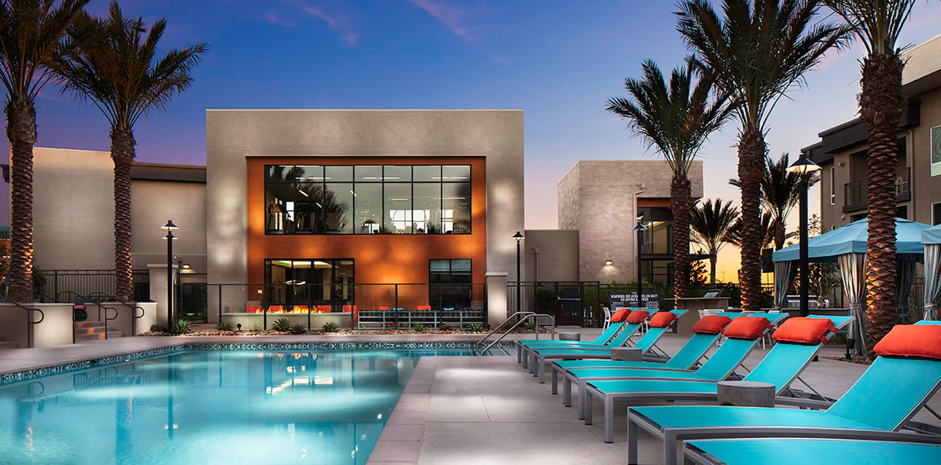 Pool at twilight at Pulse Millenia in Chula Vista, CA