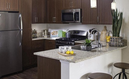 1 bedroom kitchen at Skye Apartments in Vista CA
