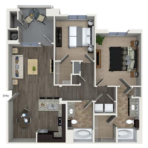 B1 floor plan at Skye Apartments in Vista, CA