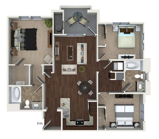 C1 floor plan at Skye Apartments in Vista, CA