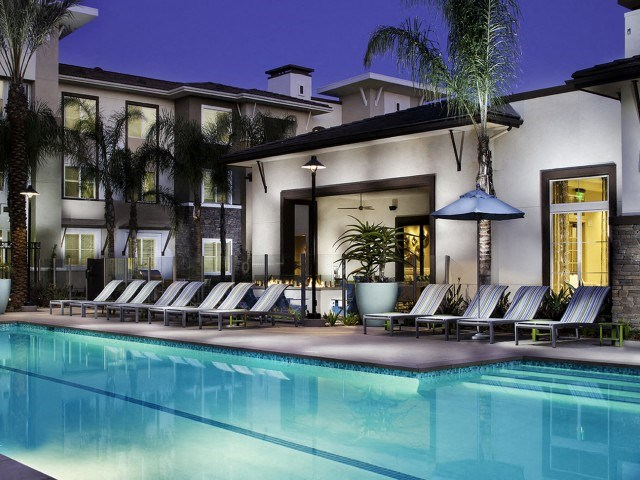 Night Pool at Skye Apartments in Vista CA