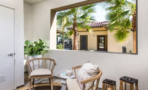 Enclosed patio at Skye Apartments in Vista CA