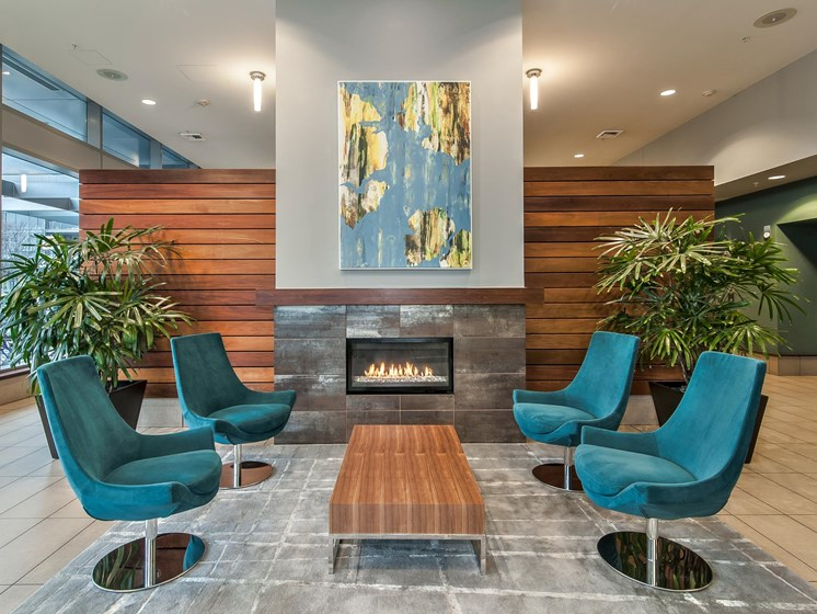 Clubhouse with Fireplace and Kitchen at Riva on the Park, Oregon, 97239