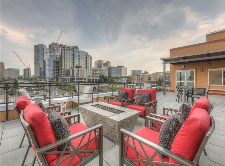 Expansive Cascade Mountain View from Rooftop at Main Street Flats, Bellevue