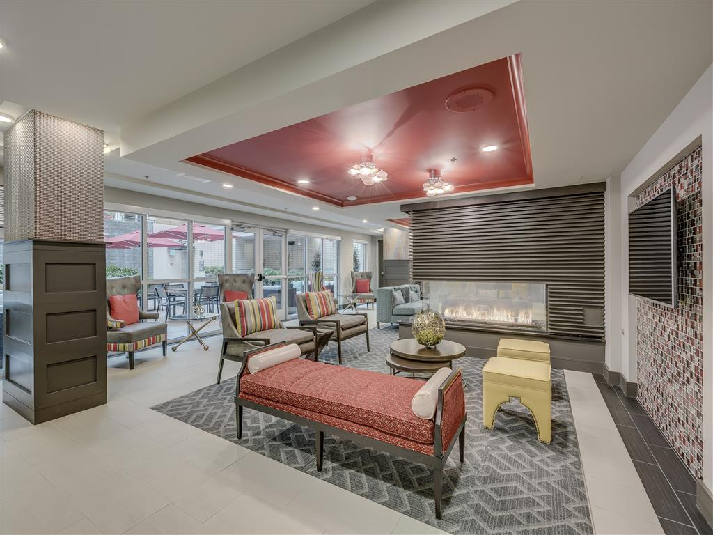 Clubhouse with TV, Fireplace, and Kitchen  at Main Street Flats, Bellevue, WA