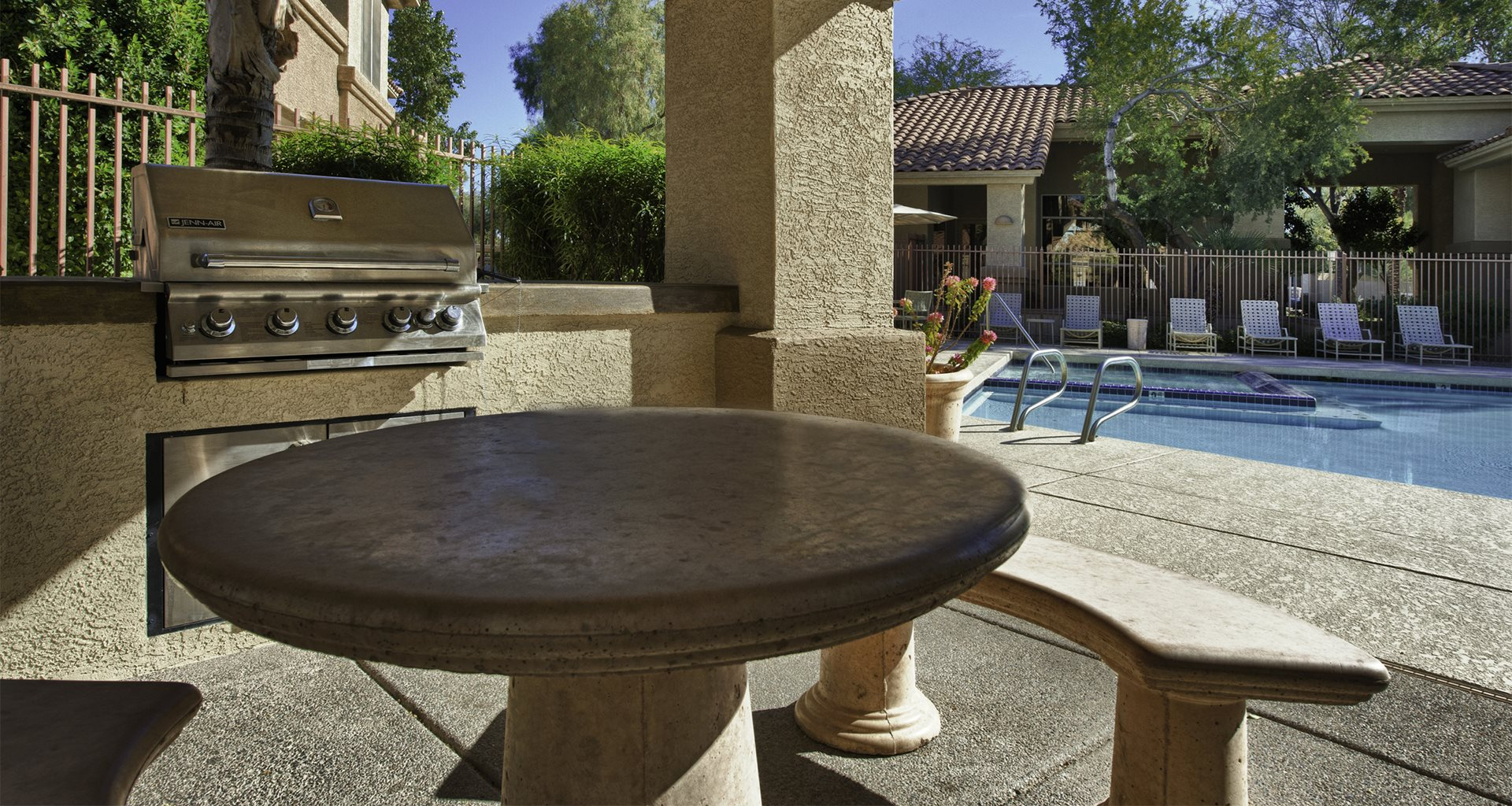 Poolside Sundeck and Grilling Area at Vista Grove, Mesa, 85204