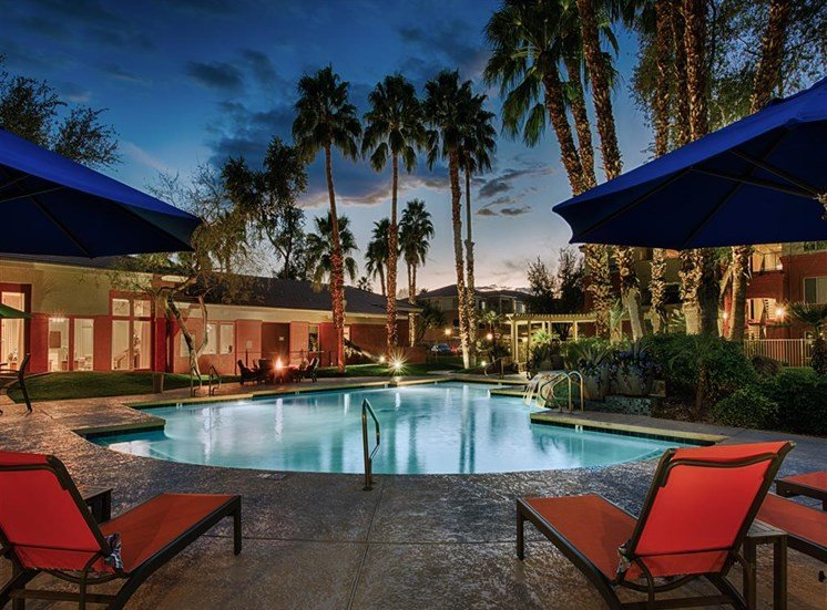 Poolside Sundeck and Grilling Area at Night at Aventura, Arizona, 85392