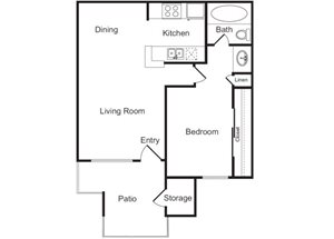 1 Bed 1 Bath Floor Plan at Flagstone, Tempe