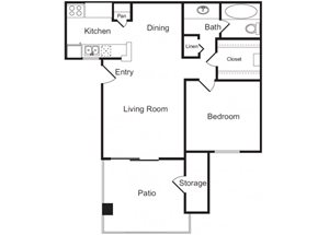 1 Bed 1 Bath Floor Plan at Flagstone, Tempe, AZ 85282