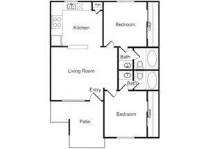 2 Bed 2 Bath Floor Plan at Flagstone, Tempe, AZ