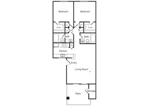 2 Bed 2 Bath Floor Plan at Flagstone, Tempe, 85282