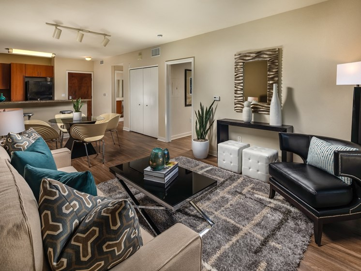Modern Living Room at Trio Apartments in Pasadena, CA