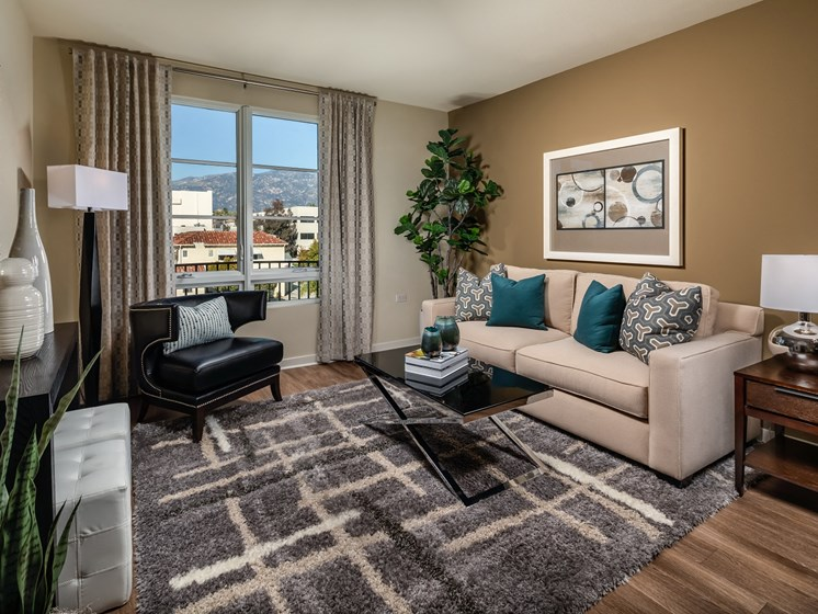 Spacious Living Room at Trio Apartments in Pasadena, CA
